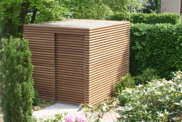 Design-Gartenhaus Stahlkubus Bangkirai von FMH