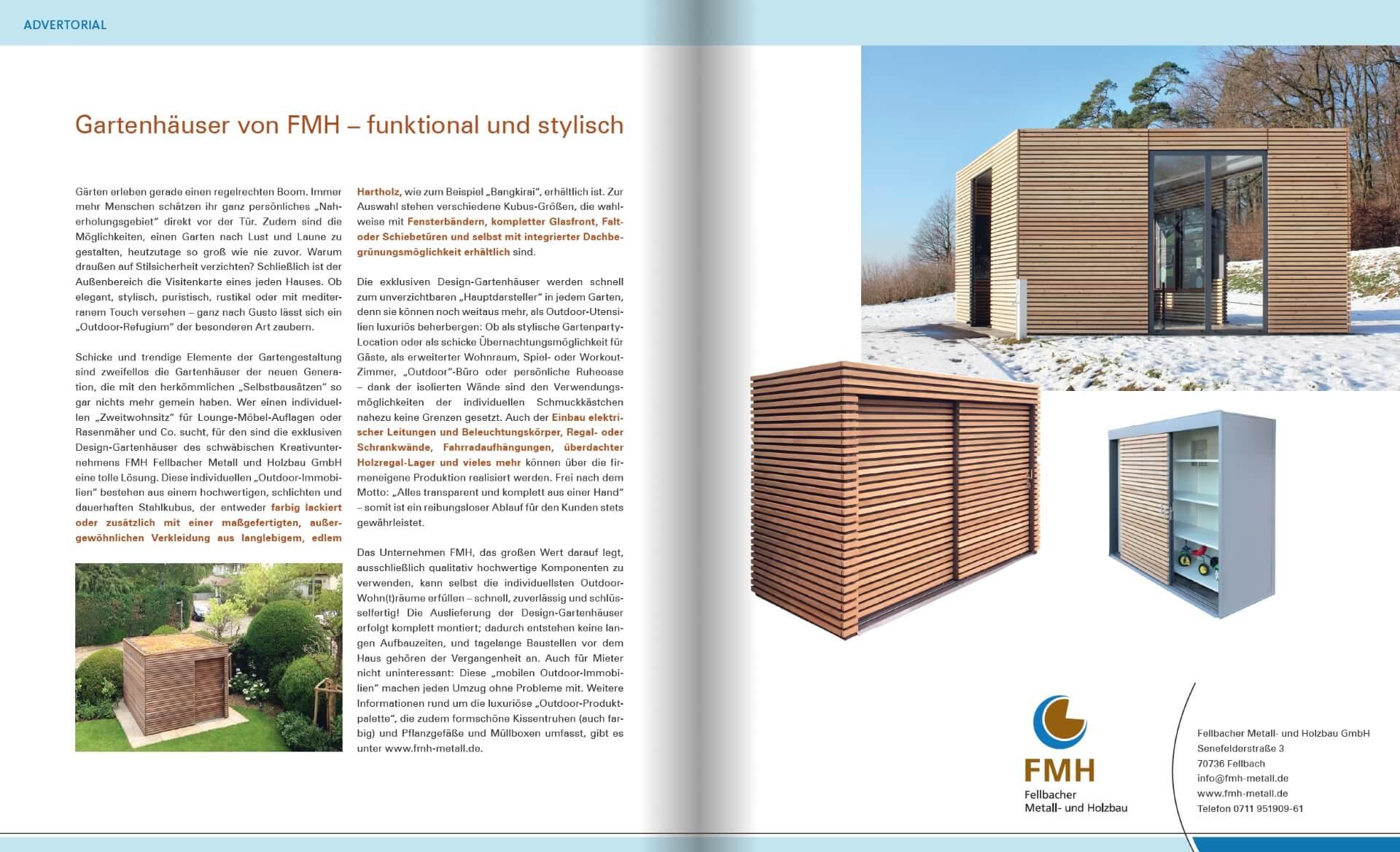GARTENDESIGN INSPIRATION 2/2018: Gartenhäuser von FMH