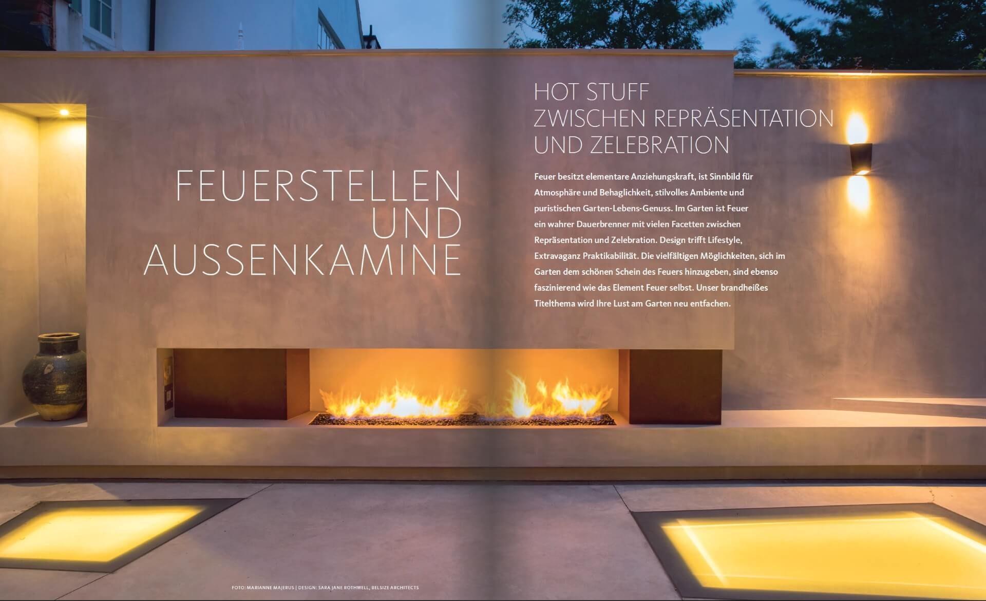 GARTENDESIGN INSPIRATION 2/2018: Feuerstellen und Aussenkamine