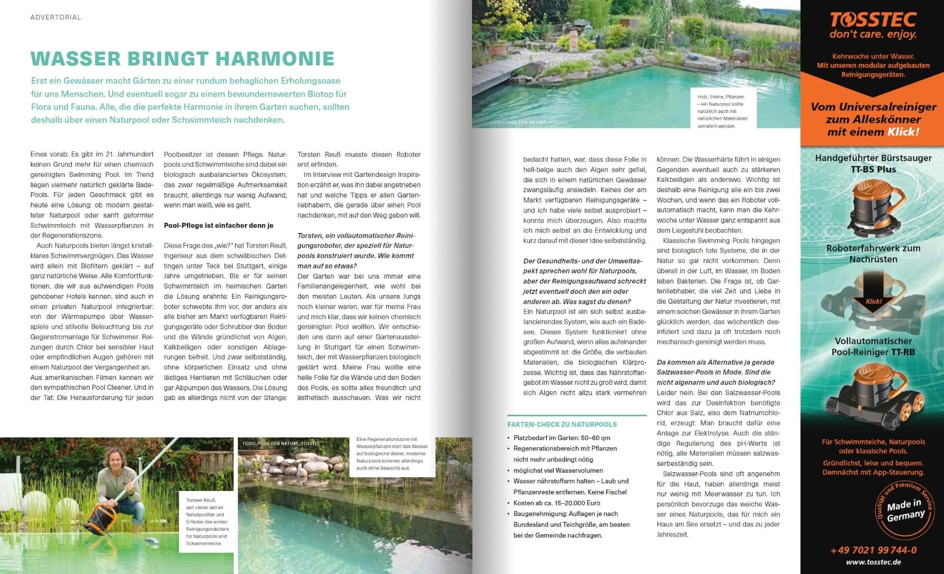 GARTENDESIGN INSPIRATION Ausgabe 3/2018: Tosstec - Wasser bringt Harmonie