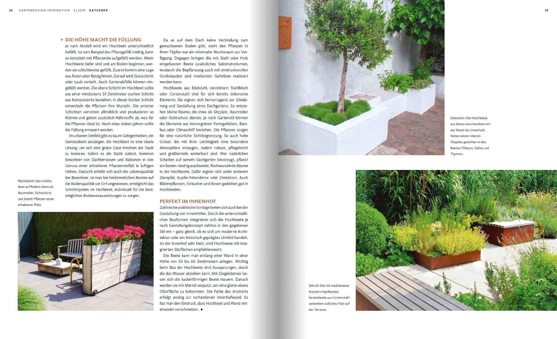 GARTENDESIGN INSPIRATION Ausgabe 2/2019: Gestaltung mit Hochbeeten