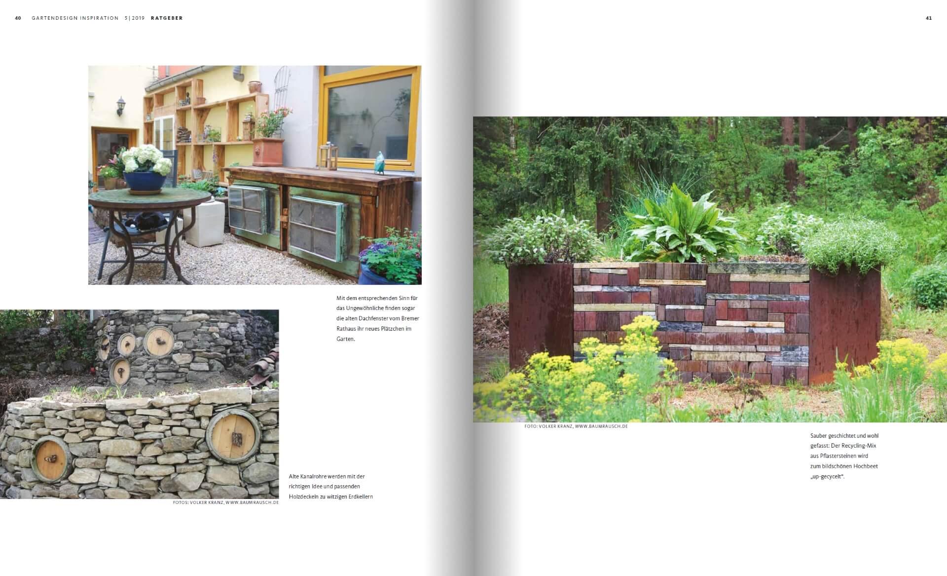 GARTENDESIGN INSPIRATION Ausgabe 5/2019: Upcycling Recycling Garten